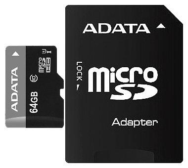 Карта памяти A-DATA MicroSDHC 64GB Class 10 UHS-I + SD adapter